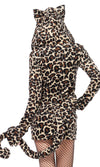Lovely Leopard Animal Pattern Fleece Long Sleeve Hood Zip Front Bodycon Mini Dress Halloween Costume