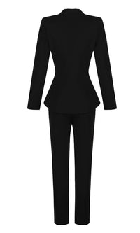 Uptown Diva Black Long Sleeve Button V Neck Jacket Skinny Pant Two Piece Jumpsuit Set - Sold Out