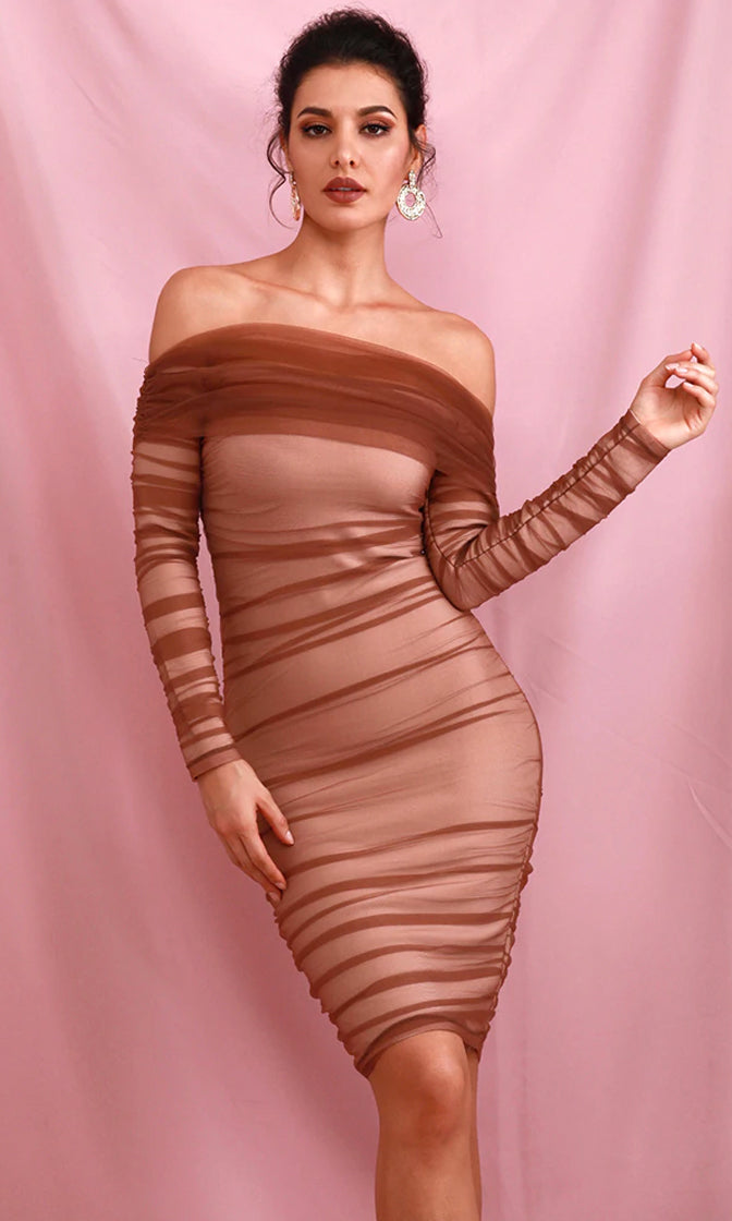 Hidden Secrets Brown Sheer Mesh Long Sleeve Off The Shoulder Pleat Ruched Bodycon Mini Dress