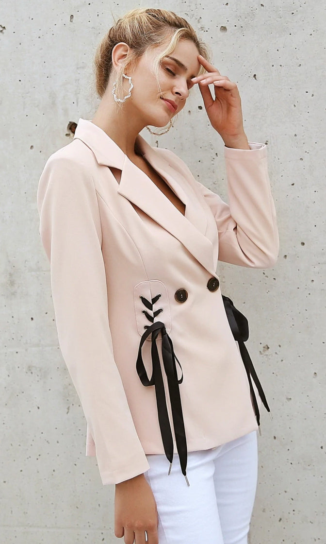 Bow So Sweet Cream Long Sleeve Double Breasted Button Lace Up Bow Tie Blazer Jacket Outerwear - Sold Out