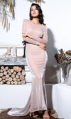 Heads Above The Rest Apricot Glitter Long Sleeve Boat Neck Draped Open Cowl Back Mermaid Maxi Dress