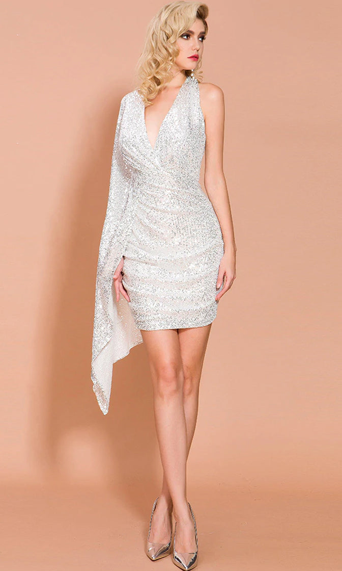 Self-Made Diva Silver Sequin Asymmetric Halter Plunge V Neck One Long Flare Sleeve Bodycon Mini Dress