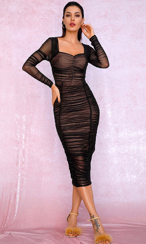 Take A Minute Black Sheer Mesh Sequin Sleeveless Spaghetti Strap V Neck Fishtail Mermaid Maxi Dress