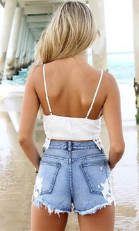 Paradise Found Blue White Crochet Lace Frayed Ripped Denim Shorts - Sold out