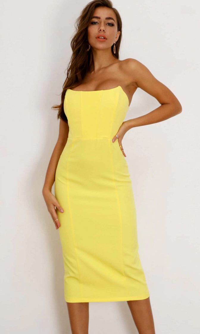Colorful Lover Pink Strapless Scoop Neck Bodycon Midi Dress - 2 Colors Available