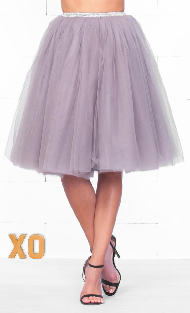Indie XO 7 Layer On Pointe Silver Grey Tulle Pleated Ballerina A Line Full Midi Skirt - Just Ours!