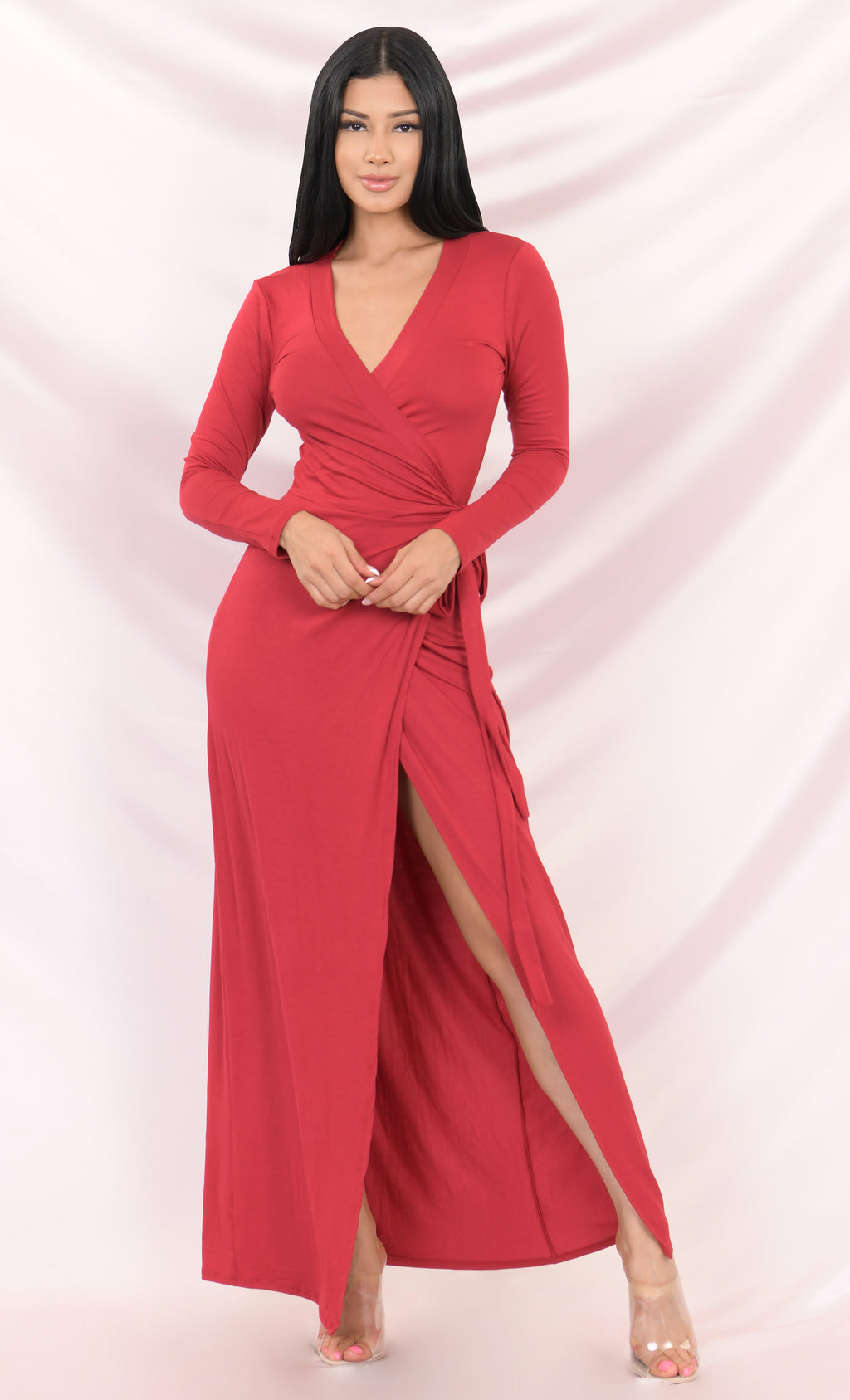 Every Which Way Red Long Sleeve Plunge V Neck Wrap Front Slit Maxi Casual Dress