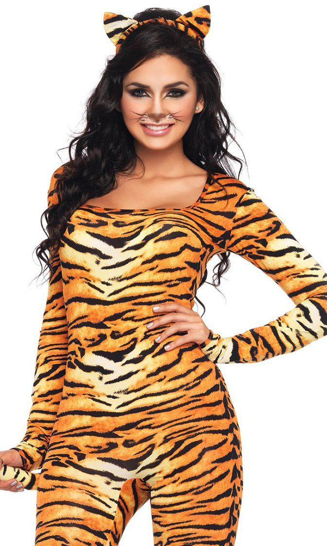 Tempting Tigress Orange Long Sleeve Square Neck Bodycon Jumpsuit Halloween Costume