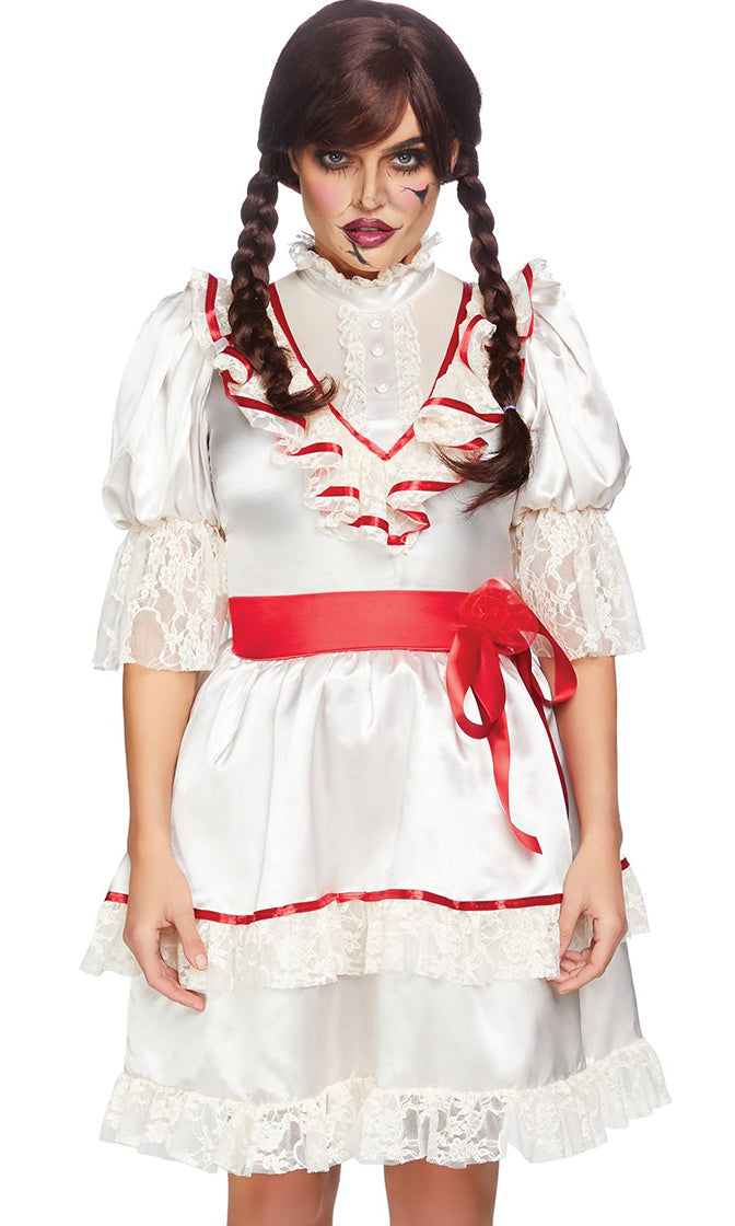 Devilish Doll White Red Satin Lace Short Puff Sleeve Ruffle Flare A Line Mini Dress Halloween Costume
