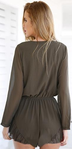 Crushin' on You Long Sleeve Brown V Neck Tie Front Ruffle Trim Short Romper - Sold Out