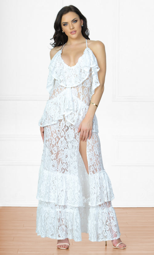 Indie XO South Beach Bombshell White Lace Sleeveless Spaghetti Strap Tier Ruffle Slit Maxi Casual Dress
