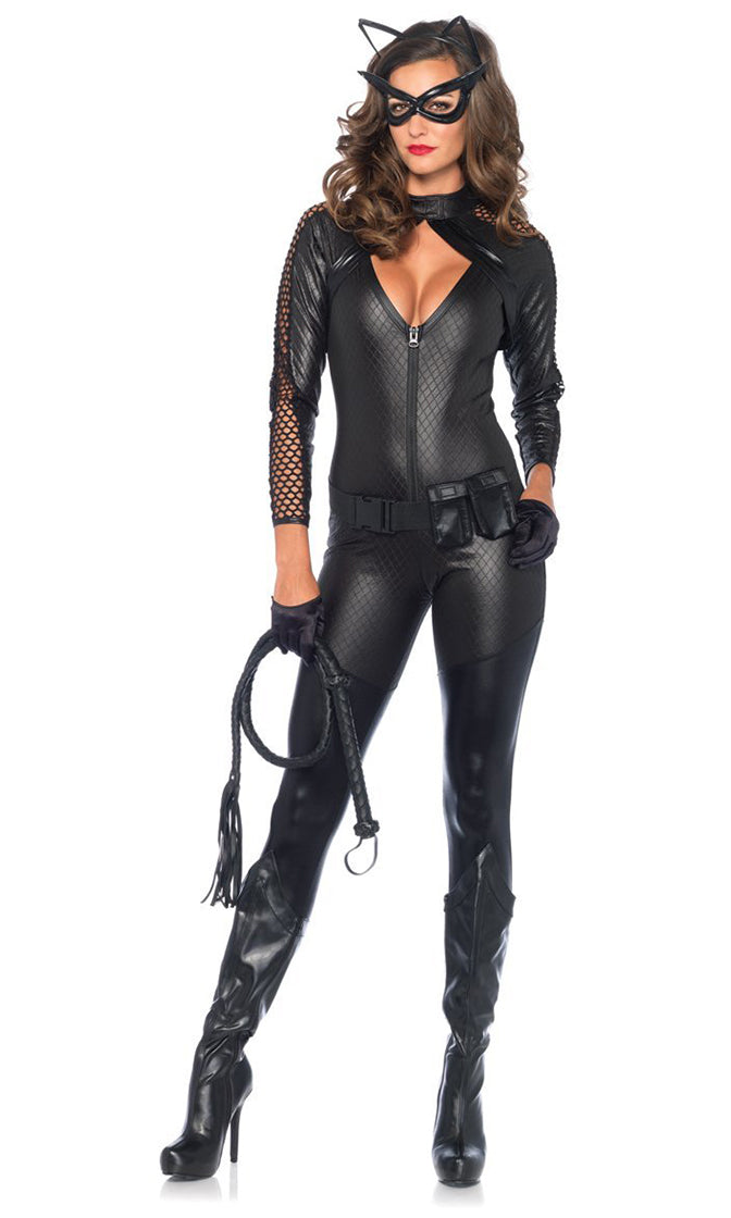 Fierce Feline Black Long Sleeve Sheer Fishnet Mesh Cut Out Mock Neck Zip Bodycon Jumpsuit Halloween Costume