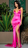 Hollywood Fantasy Pink Satin Sleeveless Spaghetti Strap V Neck Backless Ruched High Slit Mermaid Maxi Dress