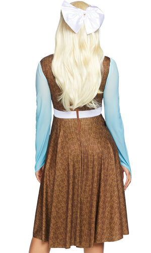 Need A Prince Blue Brown Long Sleeve Ruffle Faux Leather Peasant Lace Up Apron Flare A Line Midi Dress Halloween Costume