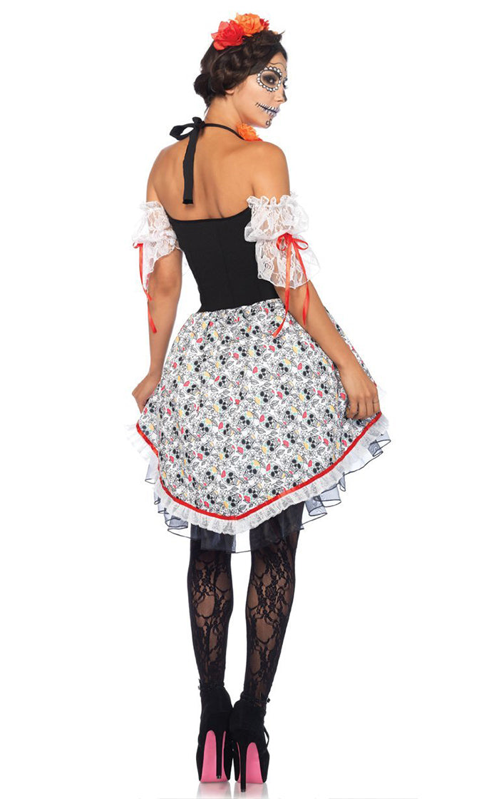 Day Of The Dead Diva Black White Skull Pattern Lace Ruffle Short Sleeve Cold Shoulder Tier Flare Mini Dress Halloween Costume