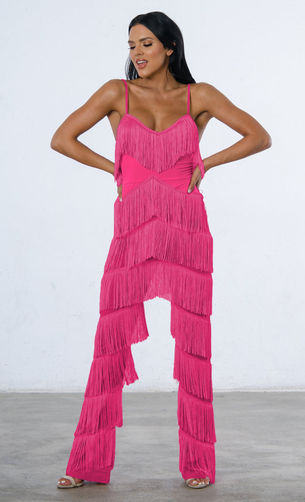 fc4359779c13 Indie XO Not Holding Back Pink Spaghetti Strap Fringe Mesh Tiered Jumpsuit  - 2 Colors Available