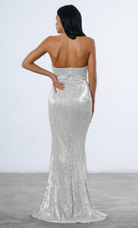 Show Me Some Love Sequin Strapless Sweetheart Neck High Slit Fishtail Maxi Dress