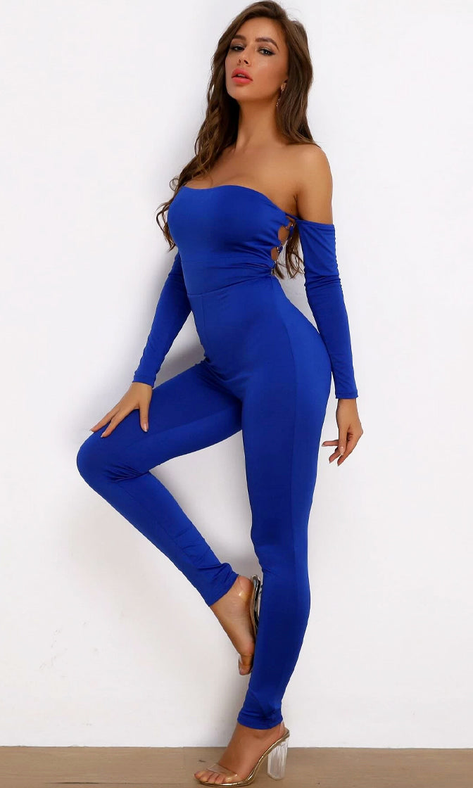 Not Afraid Of Anything Blue Long Sleeve Off The Shoulder Corset Lace Up Back Bodycon Jumpsuit