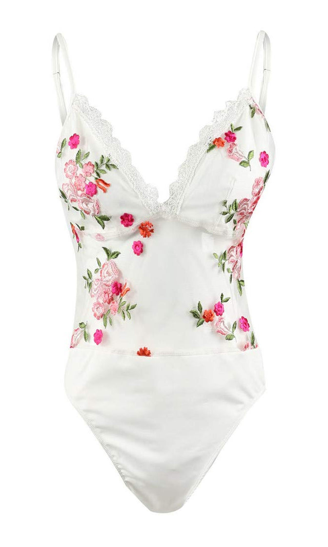 Dainty Thing White Floral Embroidery V-Neck Sheer Mesh Lace High Waist One Piece Monokini Swimsuit