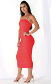 Heart Throb Light Pink Stretchy Sleeveless Spaghetti Strap Ruched Bodycon Midi Maxi Dress