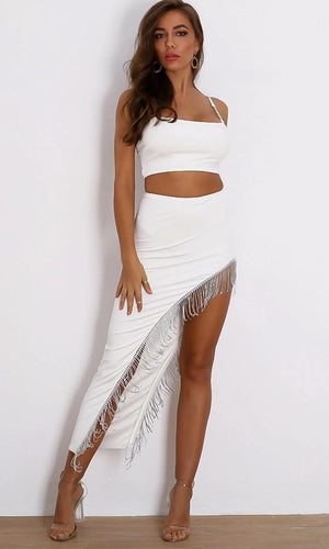 Drippin Glam White Two Piece Crop Top Rhinestone Sleeveless Spaghetti Strap Crystal Cut Out Fringe Maxi Slit Skirt Dress