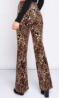 Breaking Free Leopard Print Animal Pattern High Waist Loose Bell Bottom Flare Leg Pants - Sold Out