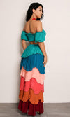 Having It All Short Sleeve Off The Shoulder Crop Tiered Pleated Two Piece Casual Maxi Dress - 2 Colors Available