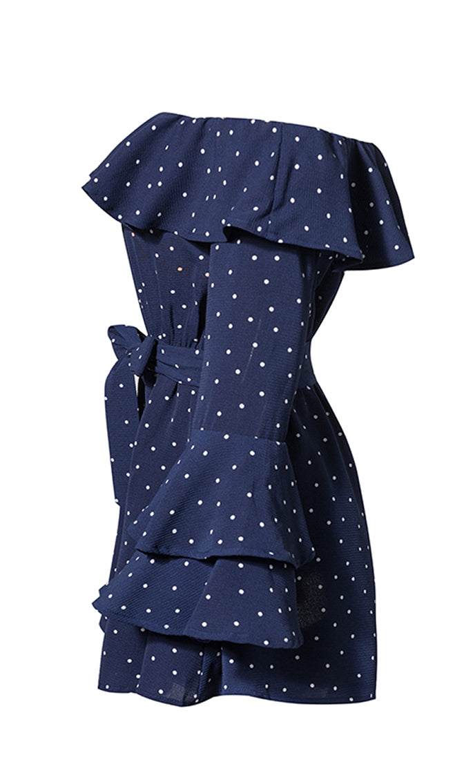 Just A Glance Polka Dot Pattern Long Flare Sleeve Off The Shoulder Ruffle Romper Playsuit - 2 Colors Available