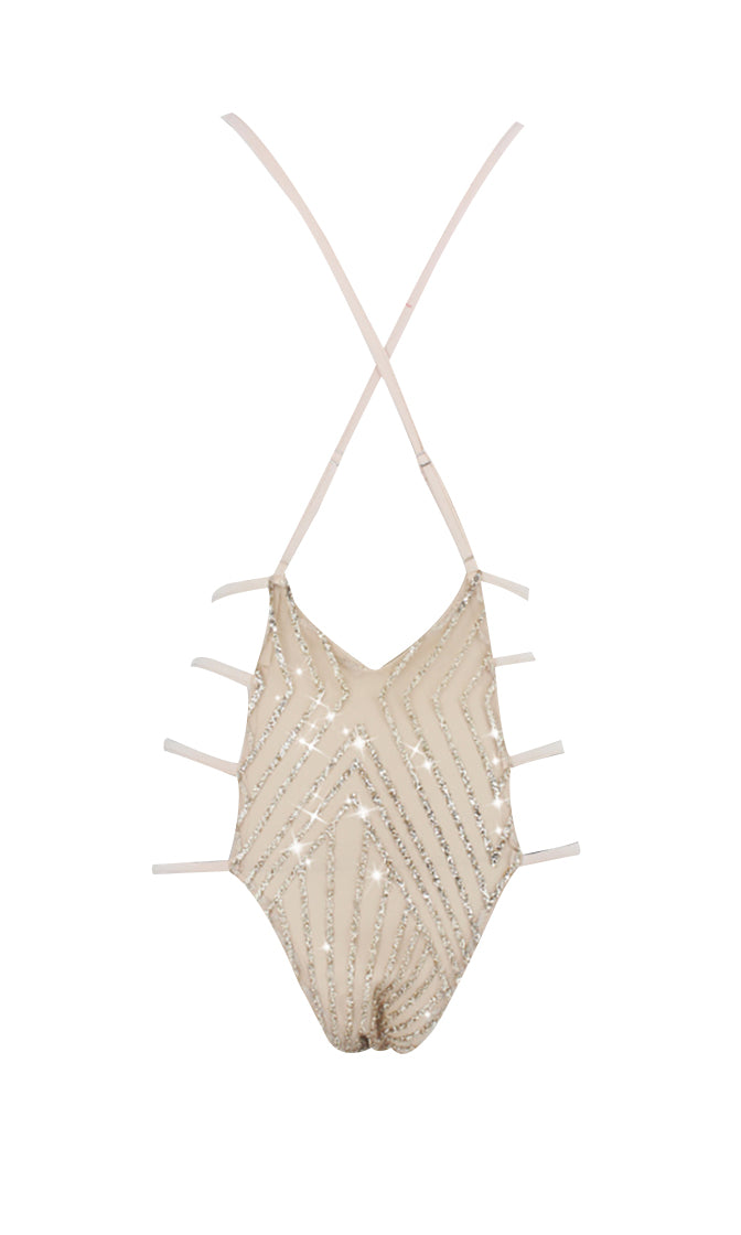La Jolla Sequin Geometric Pattern Spaghetti Strap Plunge V Neck Cut Out Sides Brazilian One Piece Monokini Swimsuit - 3 Colors Available