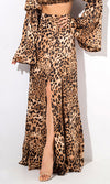 Playing The Game Brown Leopard Pattern A Line High Slit Casual Maxi Skirt Two Piece Set
