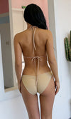 Fun And Games Sleeveless Crystal Plunge V Neck Halter Ruched Monokini One Piece Swimsuit