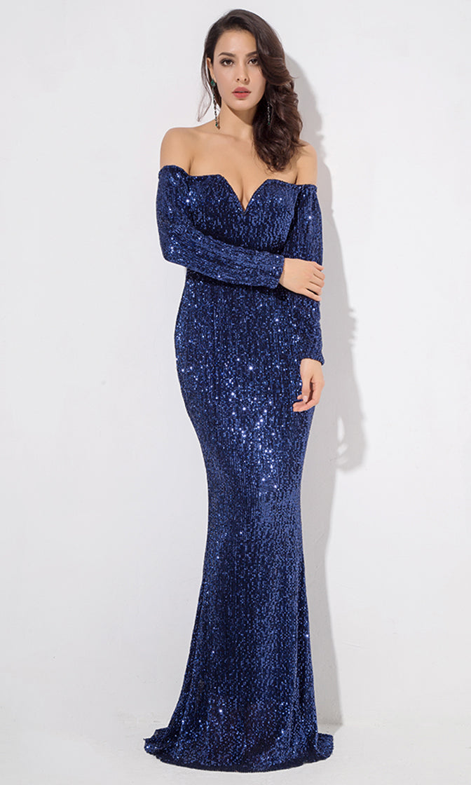 Midnight Memories Navy Blue Sequin Long Sleeve Off The Shoulder V Neck Sheath Maxi Dress