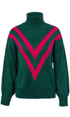 Ski Bunny Green Red Chevron Stripe Pattern Long Sleeve Turtleneck Pullover Sweater - Sold Out