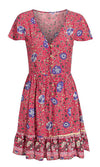Winding Down Floral Pattern Short Sleeve V Neck Button Front Flare A Line Casual Mini Dress - 3 Colors Available