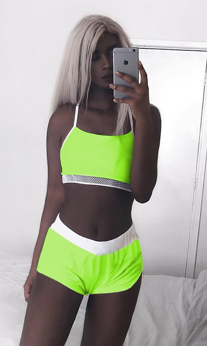 Neon Day Dream White Green Sleeveless Spaghetti Strap Scoop Neck Fishnet Mesh Crop Top Bodycon Short Two Piece Romper Playsuit
