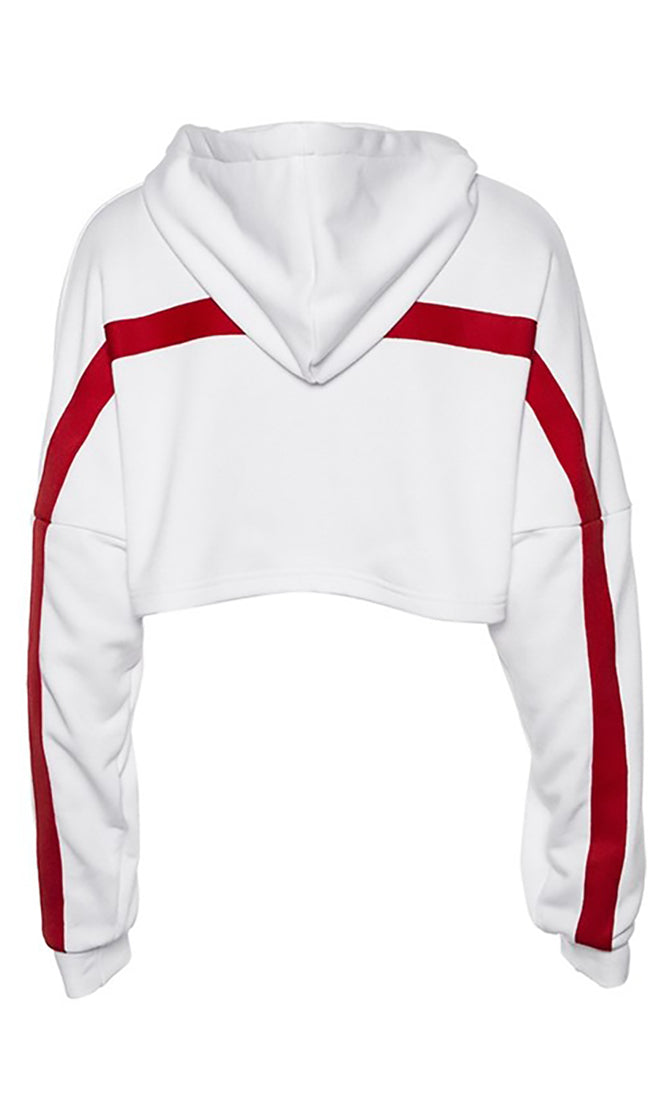 Tailgate Party White Red Long Dolman Sleeve Hood Stripe Pattern Crop Sweatshirt - Sold Out