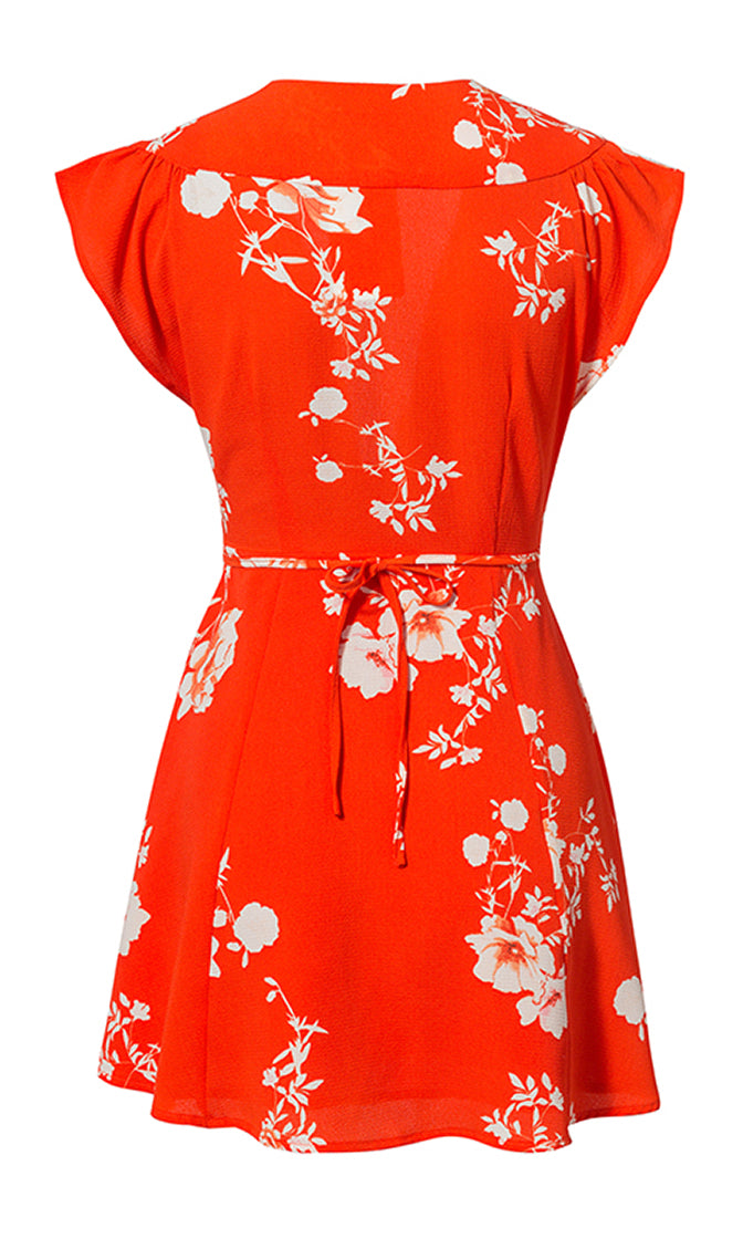 Let You Go Floral Pattern Cap Sleeve Plunge V Neck Tie Front Casual Mini Dress - 2 Colors Available