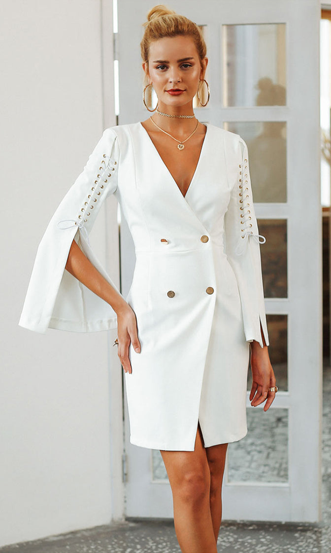 Blaze Of Glory Long Split Sleeve Lace Up Double Breasted V Neck Button Bodycon Blazer Midi Dress