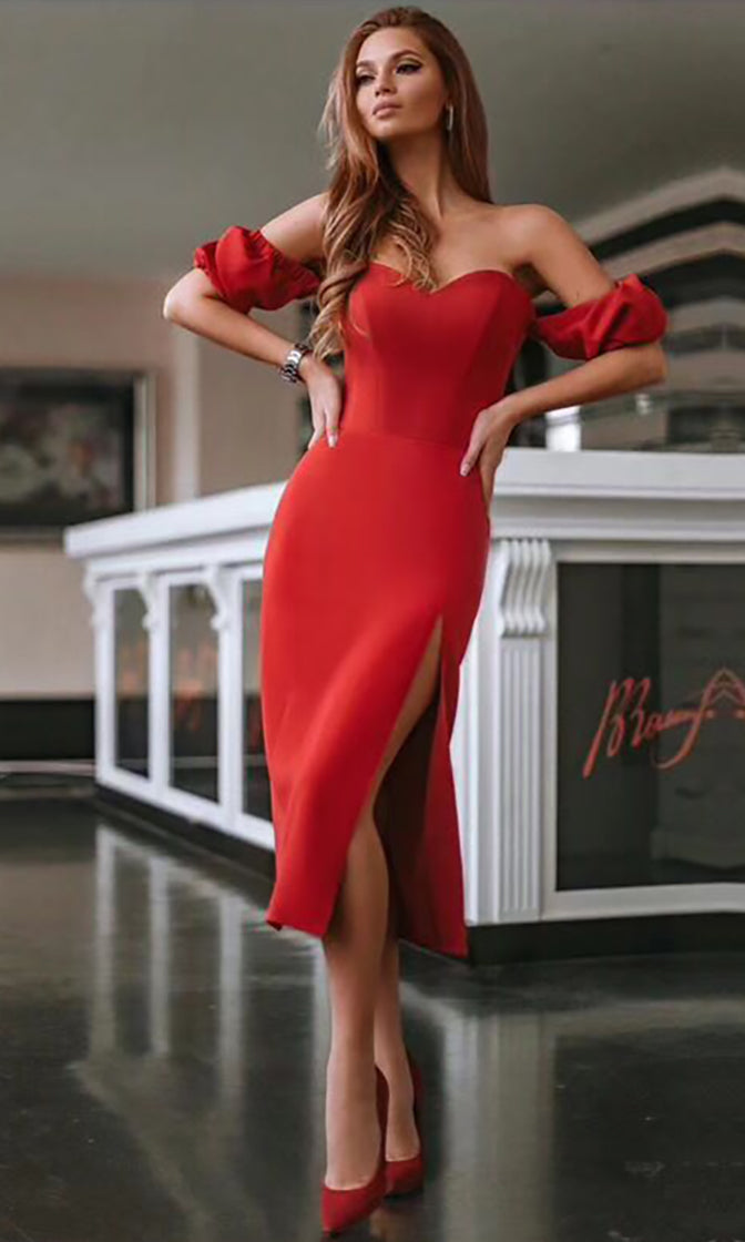 Steamy Romance Red Short Sleeve Off The Shoulder Sweetheart Neck Bodycon Bandage Midi Dress