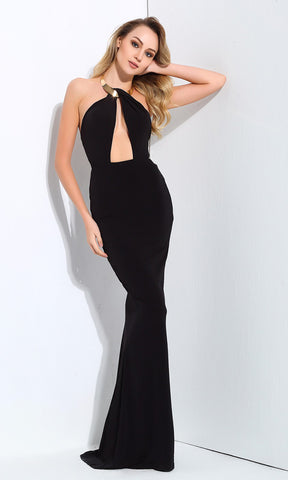Seventh Heaven Navy Satin Lace Trim Sleeveless Spaghetti Strap Halter V Neck Backless Mermaid Maxi Dress