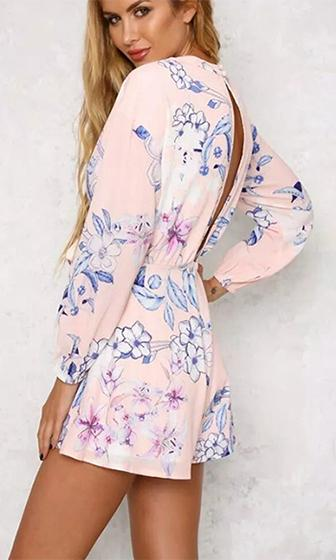 Lead Role Pink Blue White Floral Long Sleeve Plunge V Neck Tie Front Cut Out Back Romper