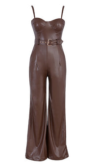 In The Studio PU Faux Leather Sleeveless Spaghetti Strap Bustier Belted Wide Leg Loose Jumpsuit - 2 Colors Available - Sold Out
