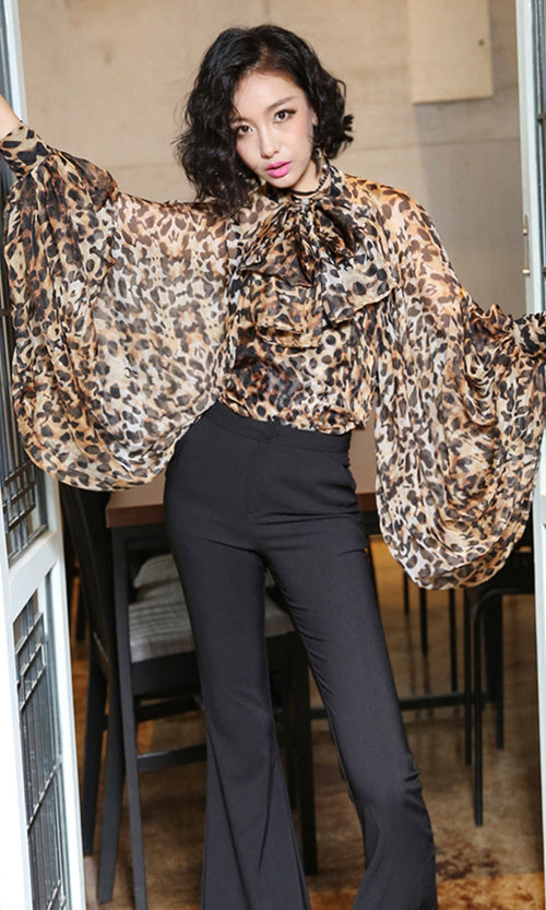 Going Glam Leopard Pattern Long Lantern Sleeve Bow Neck Blouse Top