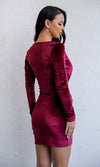 Just For Me Wine Red Burgundy Velvet Long Sleeve Plunge V Neck Twist Bodycon Side Slit Mini Dress - Sold Out