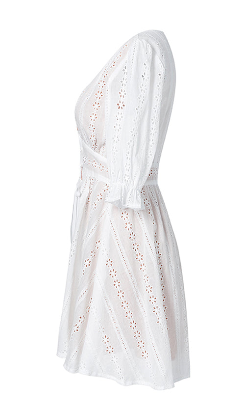 Good Old Days White Eyelet Lace Elbow Sleeve V Neck Bow A Line Mini Dress