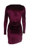 Just For Me Wine Red Burgundy Velvet Long Sleeve Plunge V Neck Twist Bodycon Side Slit Mini Dress