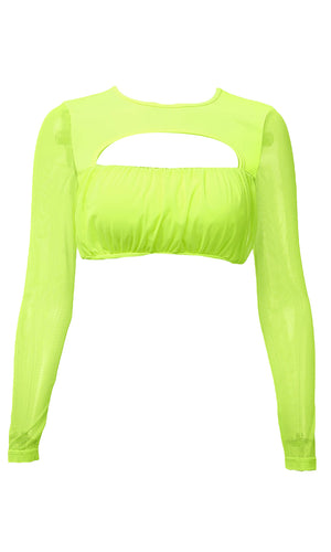 Light Me Up Neon Green Sheer Mesh Long Sleeve Round Neck Cut Out Shirred Crop Top