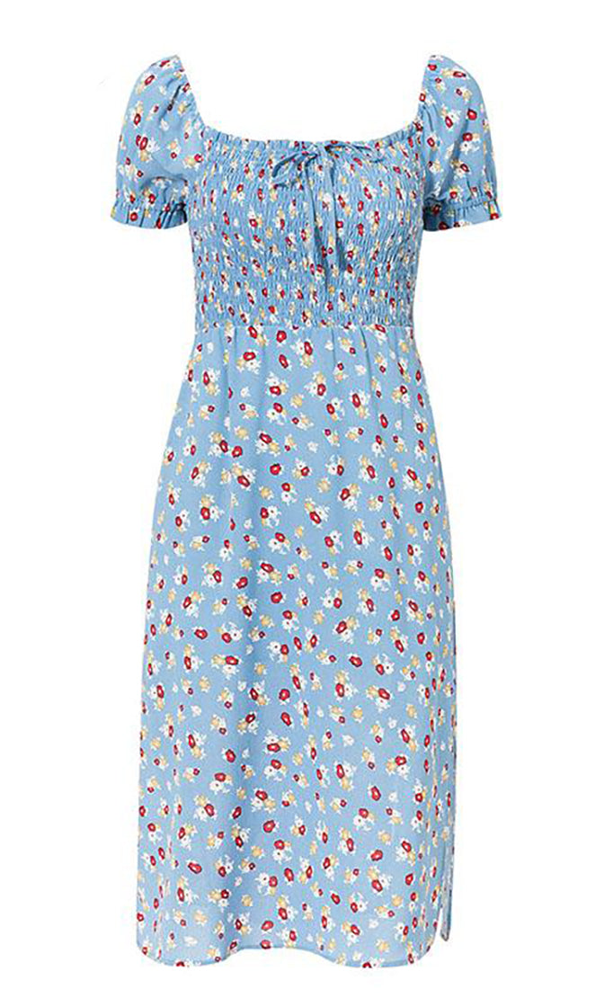 California Queen Light Blue White Red Floral Pattern Short Puff Sleeve Square Neck Smocked Side Slit Casual Midi Dress