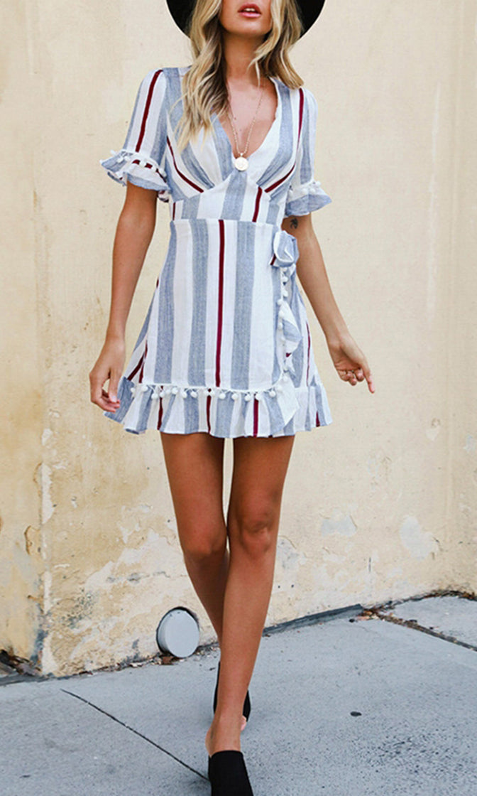 Saturday Playdate White Grey Vertical Stripe Pattern Short Lantern Sleeve V Neck Pom Pom Ruffle Casual Wrap Mini Dress - Sold Out