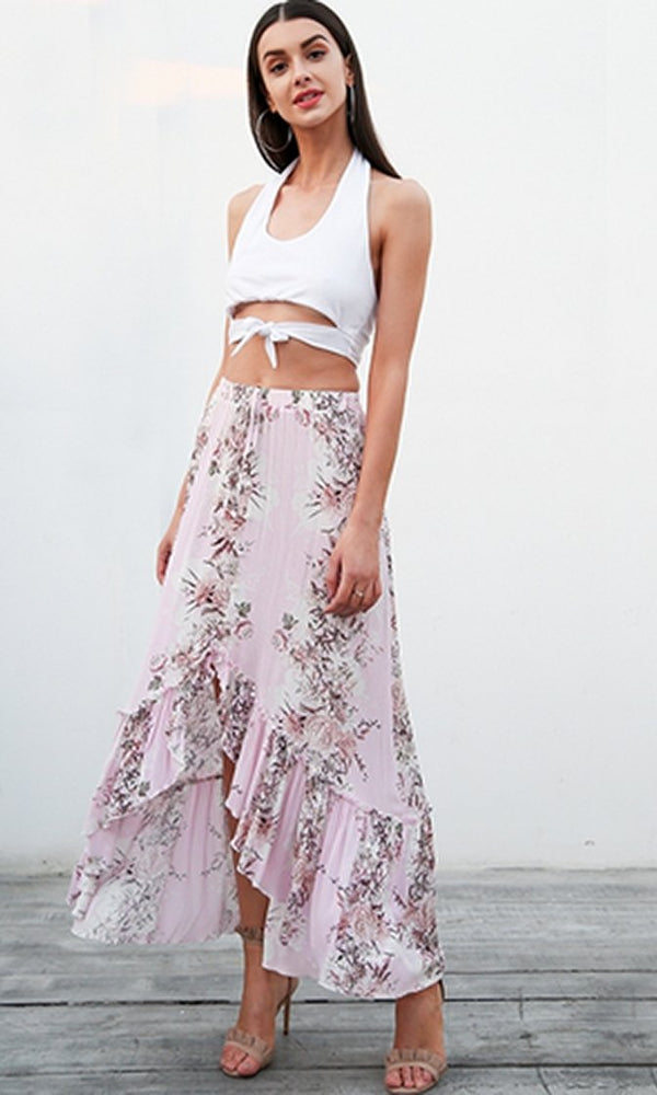 Catching Feelings Pink Floral Pattern Button Front Elastic Waist Ruffle High Low Maxi Skirt